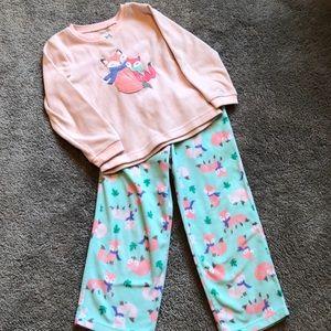 Carter's 2 piece fox fleece pajamas